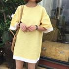 Short-sleeve Puff-sleeve Dot A-line Dress