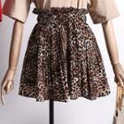 Leopard Print Chiffon Mini Skirt
