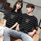 Couple Matching Short-sleeve Cartoon Embroidered Striped T-shirt
