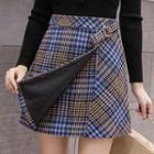 Plaid Buckled A-line Skirt