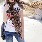 Leopard Print Chiffon Scarf