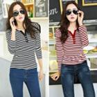 Striped Long Sleeve Henley T-shirt