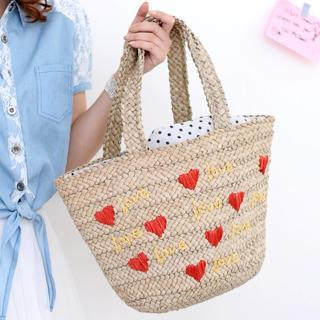 Heart Pattern Straw Tote Yellow - One Size
