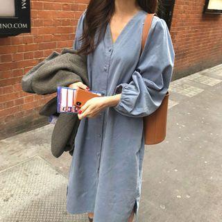 V-neck Long-sleeve Midi A-line Dress Airy Blue - One Size