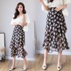 Floral Layer Pleated Chiffon Midi Skirt