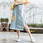 Print Midi Denim Skirt