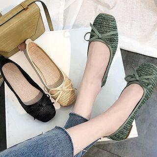 Square-toe Woven Bow Flats