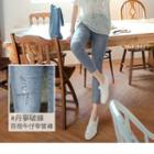 Distressed High-waist Slim-fit Cropped Jeans