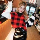 Plaid Panel Lettering Sweater