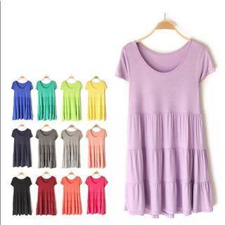 Plain Tiered Short-sleeve Dress