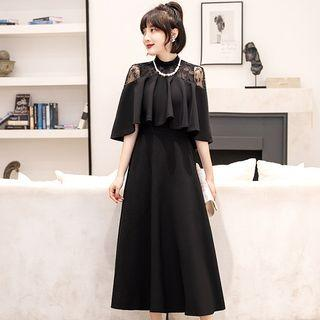 Cape-sleeve Lace Panel Midi A-line Dress