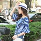 Frill-sleeve Stripe Top