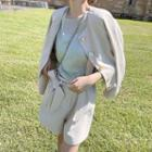 Buttoned Linen Jacket / A-line Skirt / Suspender Shorts