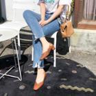 Distressed-hem Boot-cut Jeans