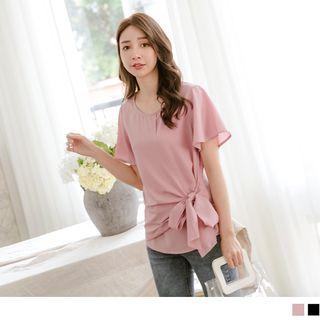 Tie-front Short-sleeve Chiffon Top
