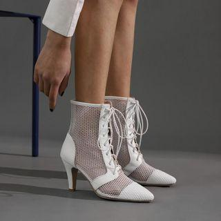 Mesh Lace-up Chunky Heel Short Boots
