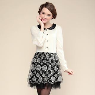 Lace Panel Chiffon Dress