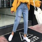 Ripped Cropped Harem Jeans
