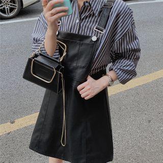 Faux-leather Slim-fit Jumper Dress