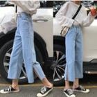 Side Slit Cropped Jeans