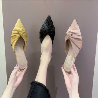 Pointed Knotted Kitten Heel Mules