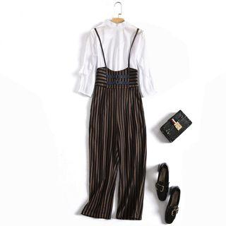 Set: 3/4-sleeve Ruffled Top + Striped Suspender Pants
