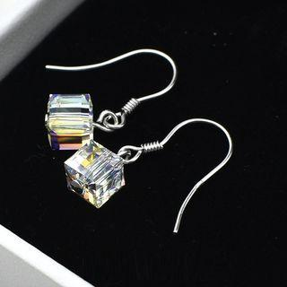 Cube 925 Sterling Silver Drop Earring Silver + White - One Size