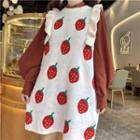 Stand Collar Shirt / Sleeveless Strawberry Dress
