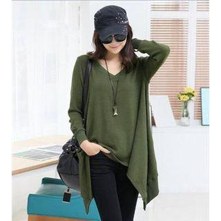 Long-sleeve Hanky Hem Plain Top Green - One Size