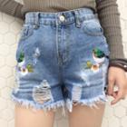 Bird Embroidered Ripped Denim Shorts