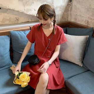 Heart Button Short-sleeve Dress Red - One Size