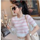 Striped Short-sleeve Crop Knit Top