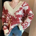V-neck Camo Sweater