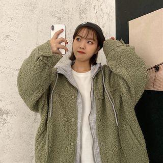 Mock Two-piece Fleece Hooded Jacket