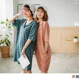 Short Sleeve V-neck Striped Dress