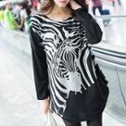 Zebra Printed Long-sleeve Top