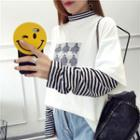 Long-sleeve Mock Two-piece Printed Top