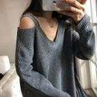 V-neck Cold-shoulder Sweater