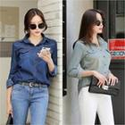Long-sleeve Dual-pocket Denim Shirt