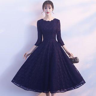 3/4-sleeve Lace Evening Gown / Prom Dress