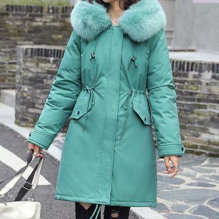 Fleece-lined Hooded Padded Zip Coat