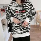 Zebra Pattern Hooded Sweatshirt As Shown In Figure - One Size