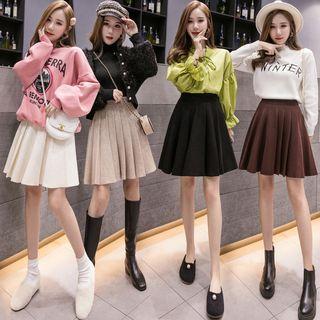 High-waist Pleated A-line Knit Skirt
