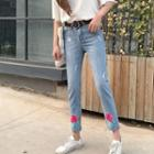 Flower Embroidered Skinny Jeans