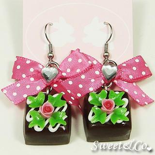 Brown Rose Chocolate Polka Ribbon Earrings