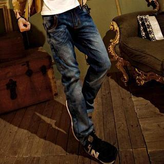 Straight-cut Washed Jeans