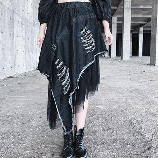 Asymmetric Mesh Hem Distressed Midi Denim Skirt Black & Denim Blue - One Size