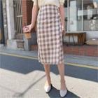 Gingham Wrap-front Midi Skirt