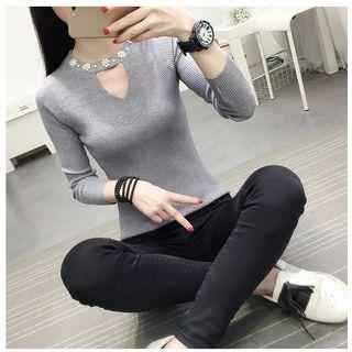 Long-sleeve Keyhole Front Embellished Knit Top As Shown In Figure - One Size