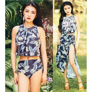 Set: Printed Tankini + Midi Skirt